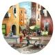 Tamburello in vera pelle con dipinto di Pulcinella in strada a Napoli 30 cm