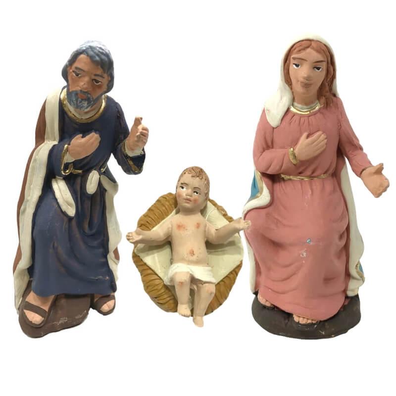 Natività Sacra Famiglia Pastori Presepe Gesù bambino in Terracotta Cm 12